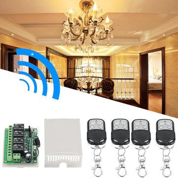 DC12V 4 Verici ve Alıcı Röle 4CH 433 MHz Kablosuz Uzakdan Kumanda Işık Anahtarı