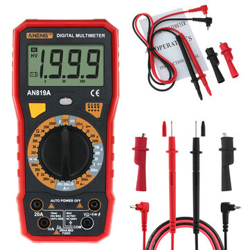 ANENG AN819A Digital Multimeter AC DC Current Voltage Capacitance Resistance Diode Tester Live Line Measurement + Crocodile Clip