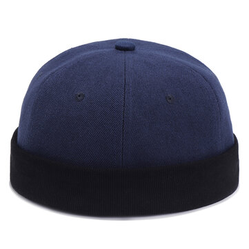 Mens Womens Cotton Adjustable French Brimless Hats Outdoor Plain Skullcap Sailor Cap
