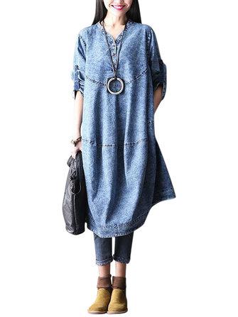एल -5 एक्सएल आरामदायक महिला नकली डेनिम ड्रेस