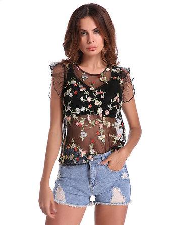 Sexy Camisetas Bordado Floral Atractivo de Cuello Redondo Transparente