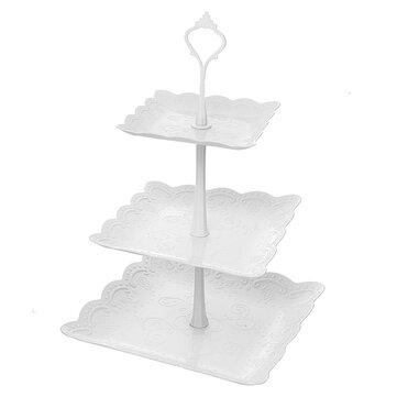 Tarde de pastel de 3 niveles por la tarde Té Boda Platos Fiesta en relieve Pantalla Vajilla Decoraciones para pasteles