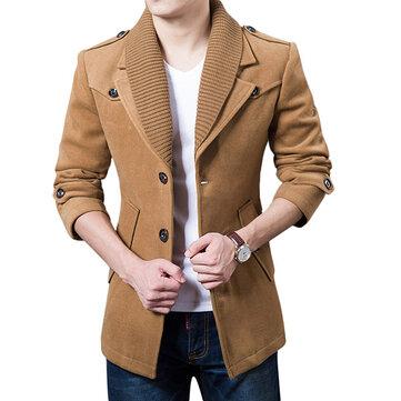 शरद ऋतु शीतकालीन क्लासिक लैपल कोट पुरुषों सिंगल ब्रेस्टेड आरामदायक ऊनी लांग ट्रेंच कोट