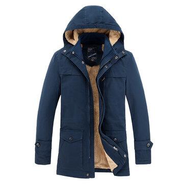Áo khoác lông mùa đông dày lông bông ấm trùm đầu Parkas ngoài trời cho nam giới