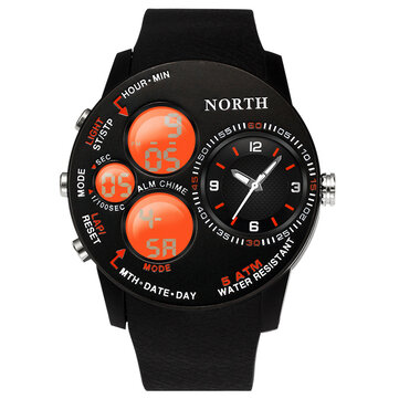 Fashion Casual Men Digital Watch 5ATM Waterproof Luminous Week Date Display Stopwatch Dual Display Watch for sale in Bitcoin, Litecoin, Ethereum, Bitcoin Cash with the best price and Free Shipping on Gipsybee.com