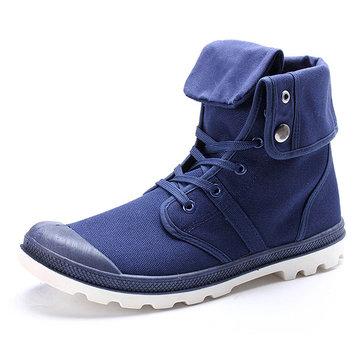 नए फैशन पुरुषों आरामदायक उच्च शीर्ष कैनवास के जूते आउटडोर फीता-अप स्पोर्ट स्नीकर्स जूते