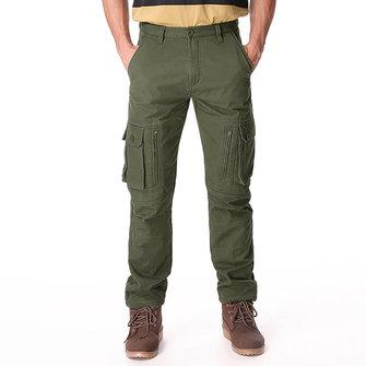 पुरुषों मोटी लूज शीतकालीन ध्रुवीय फ्लाईस विंडप्रूफ कार्गो पैंट रेखांकित