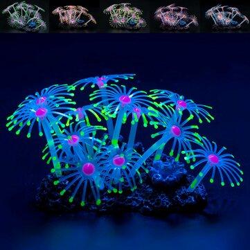 Fluorescerande Silikon Akvarium Korall Växter Vatten Akvariefisk Ornament Dekor Dekorationer