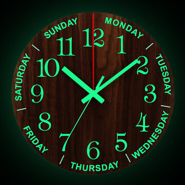 12 Inch Luminous Wall Clock Wooden Silent Non-Ticking Clock With Night Light