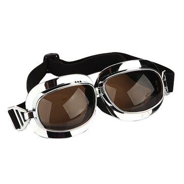 Motorcycle Helmet Scooter Goggle silver frame dark brown lens