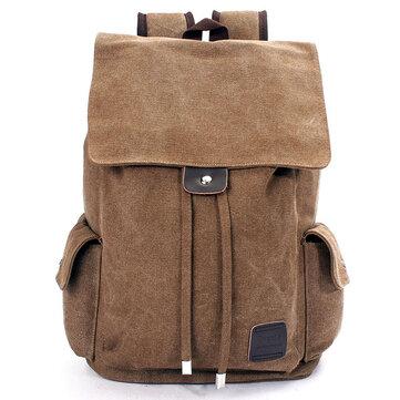 メンズ屋外旅行キャンバスバックパックスクールリュックサックショルダーバッグ