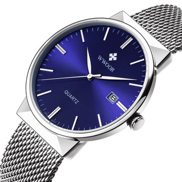 WWOOR 8826 Ultra Thin Stainless Steel Watches Men Fashion Calendar Quartz Watch