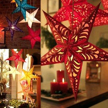 Decoración colgante de la estrella del papel del laser de la Navidad de los 45cm decoración plegable de la Navidad del pentagram 3d hecho a mano