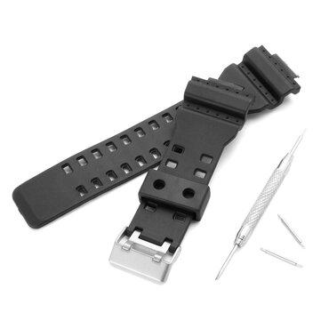 CASIO GA-100 G-Şok GA-120/300 için Değiştirilebilir 16mm Kauçuk Siyah Saat Band, Tokalı Onarım ile Parçalar