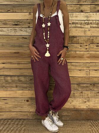 Combinaison à bretelles de couleur unie pour femmes avec poches