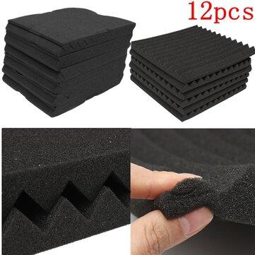 12 Packs Soundproofing Acoustic Studio Wedge Foam Tiles Wall Panels 30*30*2.5cm