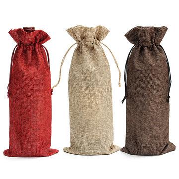 La boda natural de la vendimia de la arpillera del yute 5pcs favorece el regalo de los bolsos de la botella de vino de la arpillera