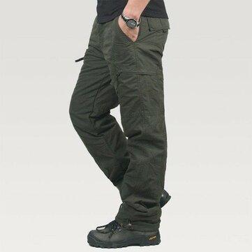 Mens עבה Soft רופף חורף פולאר פליס Windproof רוכסן Pockets מכנסיים