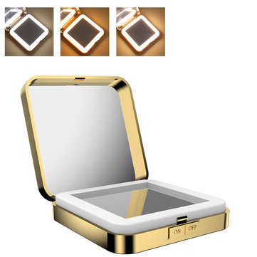 USB LED Lights 10x Magnifying Foldable Square Makeup Mirrors Double Sided Portable Makeup Tools