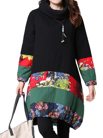 विंटेज पैचवर्क स्ट्रिप प्रिंटिंग लंबी आस्तीन कछुए गर्दन लूज ड्रेस