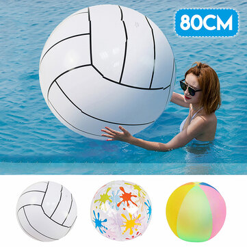 80cm Inflatable Beach Ball Adult Kids Swimming Pool Water Toys Summer Water Sport Play Ball Gift Camping Beach Travel