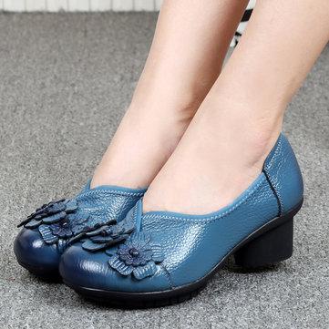 SOCOFYレザーで女性のカジュアルなソフトハイヒールの靴