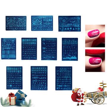 1Pc Christmas Image Uña Plantilla de estampado DIY Polish Rectangle Stamp Plates Beauty Manicure herramientas