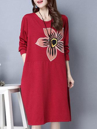 आकस्मिक महिला लंबी आस्तीन फूल मुद्रित दौर गर्दन कपड़े