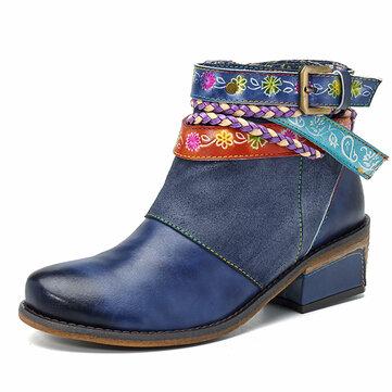 SOCOFY נשים עבודת יד אריגה רצועה נעלי עור קרסול