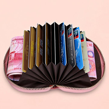 Women Genuine Leather Shell 9 Card Slots Card Holder Coin Bags Zipper Purse