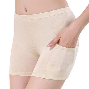 Women Cosy Modal Seamfree Soft Elastic Mid Waist Boyshorts Solid Color Panties