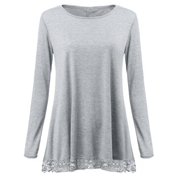 Loose Women Solid Gary Long Sleeve Crochet Splicing Pullover T-Shirt
