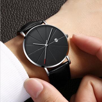 デフランカジュアルスタイルビジネスメンズ腕時計レザーストラップクォーツ時計