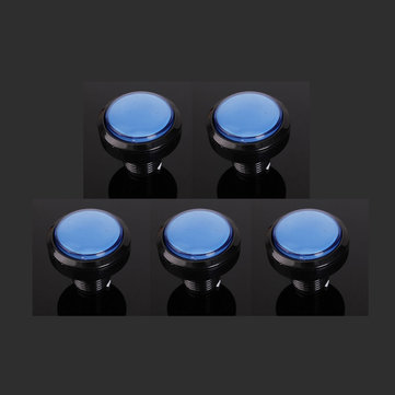 5Pcs Blue 45mm Arcade Video Game Big Round Push Button LED Lighted Illuminated Lamp