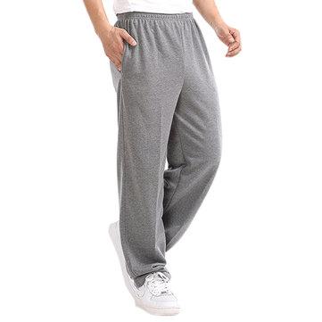 वसंत शरद ऋतु फ्लीस मोटी खेल पैंट पुरुषों आरामदायक लूज सीधे पतलून चलने पैंट