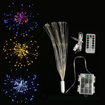 Dual Powered USB Battery 150 LED Starburst String Fairy Light Sliver Wire Wedding Party Home Decor