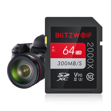 BlitzWolf®BW SDC1 UHS II SD Memory Card U3 C10 V90 32GB 64GB 128GB Data Storage Card for MILC SLR Camera Driving Recorder Coupon Code and price! - $15.73