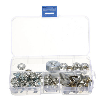 63pcs Stainless Steel Canvas Buckle Quick Snap Fastener Buttons Screws Kits