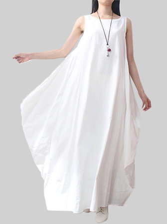 Asymmetrical Solid Color Sleeveless Pocket Loose Cotton Dress