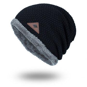 Mens Winter Plus Velvet Knit Beanie Hat Solid Outdoor Warm Good Elastic Skull Caps