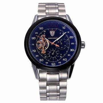 Tevise 8378 אוטומטיים מכניים גברים Watch-Countn-downn נירוסטה שעונים