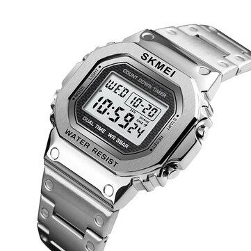 SKMEI 1456 LED Chronograph Countdown Alloy Case Stainless Steel Waterproof Digital Watch Men Watch
