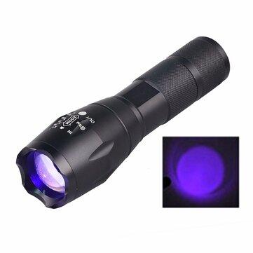 YT-E17UV UV LED  395nM 5W Power Aluminum Zoom Ultraviolet Flashlight Lamp Black Light Torch