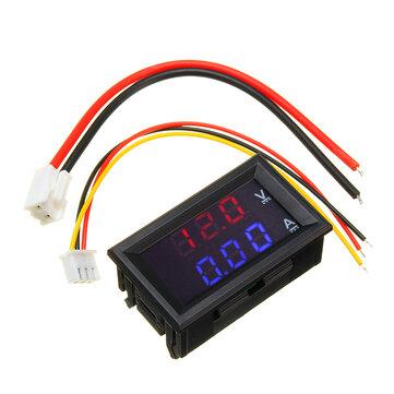 """Mini Digital Voltmeter Ammeter DC 100V 10A Panel Amp Volt Voltage Current Meter Tester 0.56"""" Blue Red Dual LED Display"""