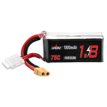 URUAV 14.8V 1800mAh 75C 4S Lipo Battery XT60 Plug for RC Drone FPV Racing