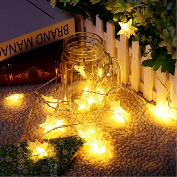 Battery Powered 3M 20LEDs Warm White Star Shaped Fairy String Light for Christmas Patio