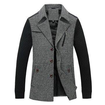 शरद ऋतु पुरुषों बुना हुआ थर्मल कंट्रास्ट रंग कोट ब्लेंड पैचवर्क आकस्मिक जैकेट