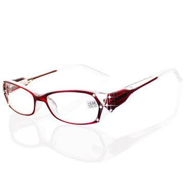 1.0-4.0 Diopter Lady Kacamata Baca Musim Semi Engsel Berlian Imitasi Kristal Berlian Desain Modern untuk Wanita