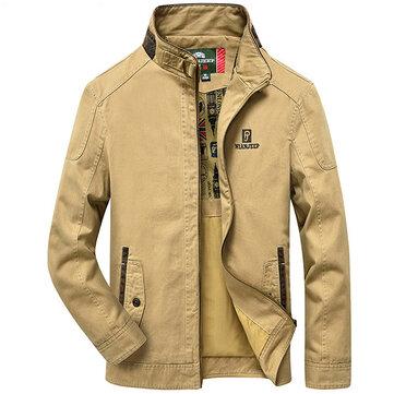 पुरुषों कपास आउटडोर स्टैंड कॉलर जैकेट प्लस आकार सिलाई शरद ऋतु आरामदायक कोट