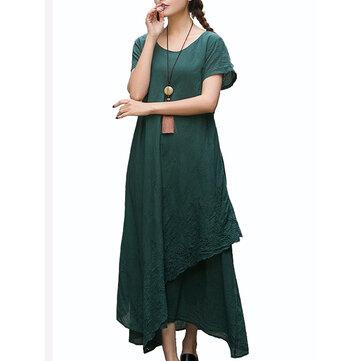विंटेज महिला कढ़ाई शुद्ध रंग लघु आस्तीन ढीली मैक्सी ड्रेस